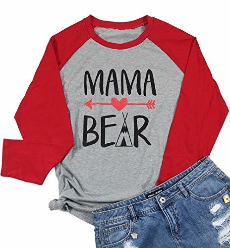 Mama Bear Letters Print Raglan Tees Women Arrow Print Long Sleeve T-Shirt Splicing Tops Size M (Red) ()
