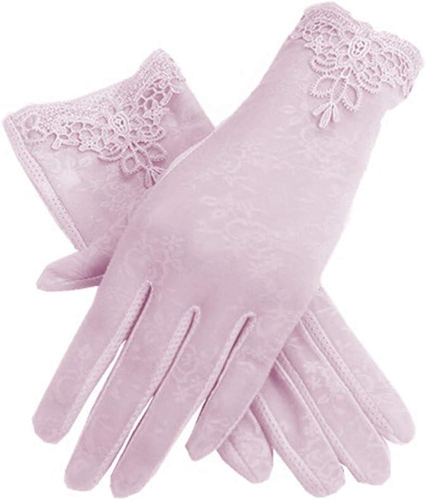 Casecover Damen Kurz Spitzen Handschuhe Touch Screen Thin Ice Silk Blumen Driving Retro-Handschuhe F/ür Damen