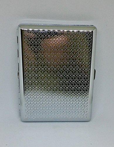 KSI Metal Silver Playing Cards Design Frame 100s Size Cigarette (Frame Cigarette Case)