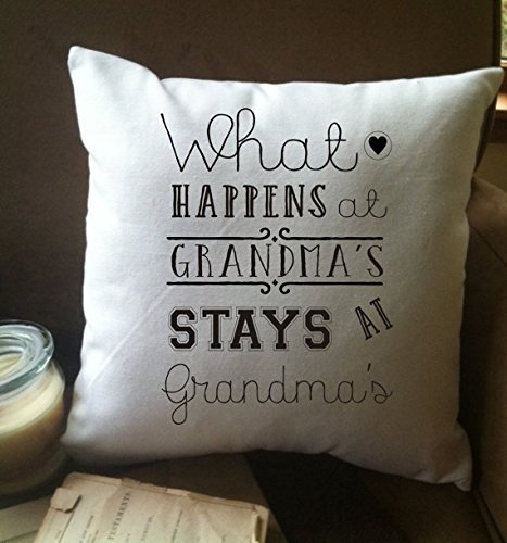 What happens at Grandmas stays at Grandmas funny throw pillow cover, Cushion cover, grandma pillow cover, 16x16, Gift for Grandmother (Chair Fur Butterfly Blush Faux)