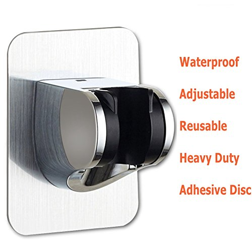 Universal ABS Adjustable Shower Head Holder Self Adhesive Handheld Shower Holder With Adhesive 3M Stick Disc, Reusable, Heavy Duty, Waterproof, Wall Mount Bathroom