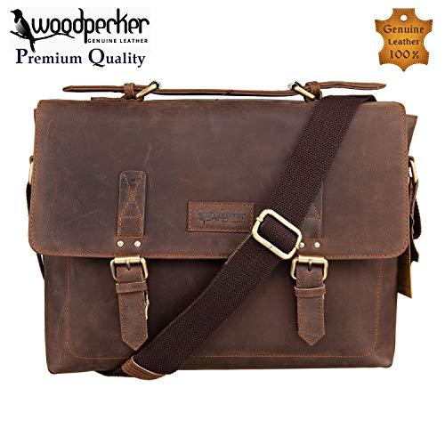 Woodpecker Genuine Cowhide 13 inch Leather Messenger Bag for Mens Laptop Crossbody Shoulder bag Briefcase Macbook Satchel ()