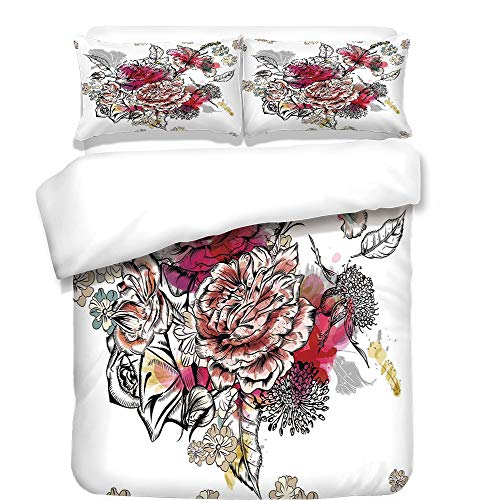 3Pcs Duvet Cover Set,Floral,Romantic Rose Petals Bouquet Bridal Wedding Themed Nostalgic Blooms in Mixed Colors,Multicolor,Best Bedding Gifts for Family/Friends
