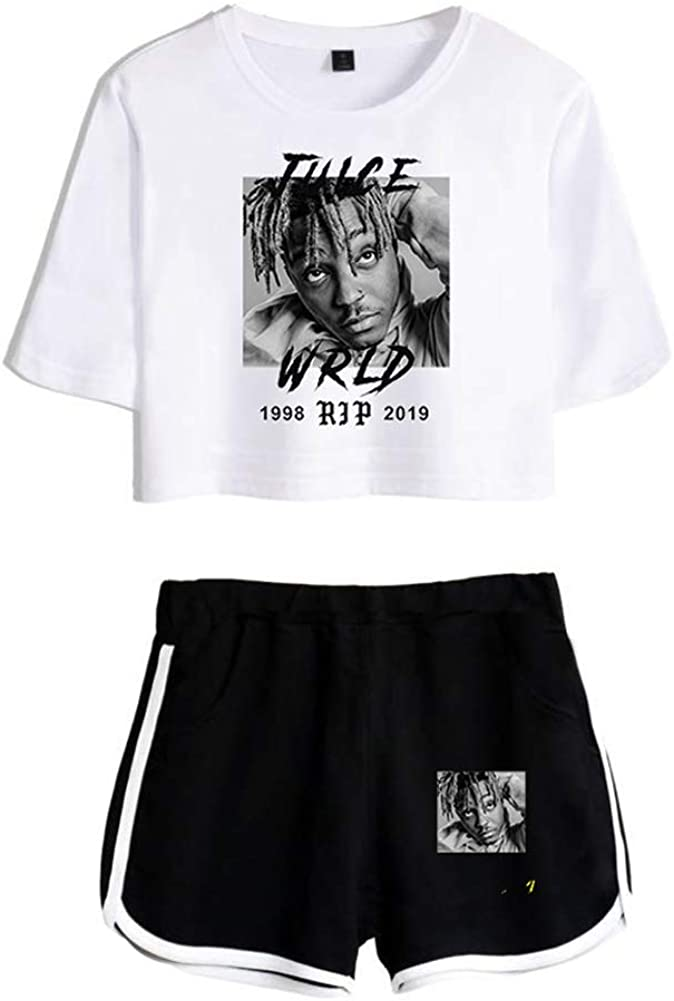 Forlove365 Juice Wrld 999 Short Sleeve Shirt and Shorts Set Crop Top /& SweatShorts for Women Girls