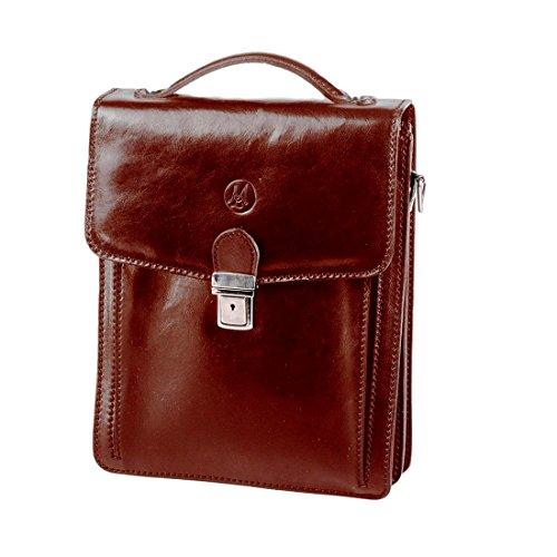 MICHELANGELO handgefertigt italien - Tasche, Classic Large, aus echtem Leder 23.5x9 H29 cm (BRAUN)