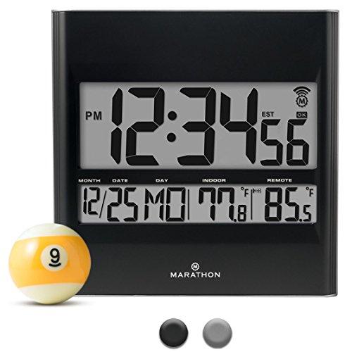 Marathon CL030027BK Atomic Wall Clock with 8 Timezones, Indoor/Outdoor Temperature & Date in Black - Batteries Included Black Indoor Clock