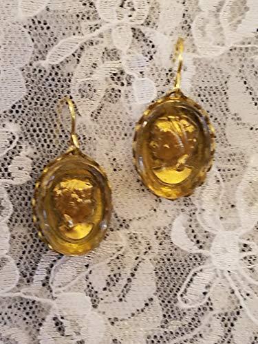 Vintage Glass Intaglio Gold Grecian Lady Earrings