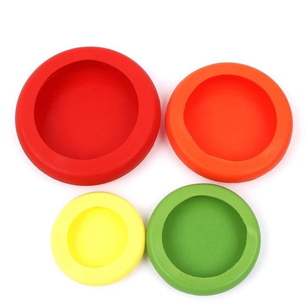 para Frutas y Verduras Color al Azar Juego de 4 Tapas de Silicona Reutilizables para Guardar Alimentos en tarros y latas HANGMU