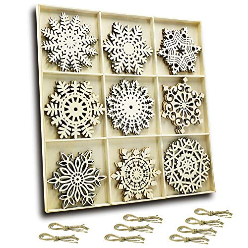 Laser Wooden - Set of 27 Hanging Wood Snowflakes Ornaments,Christmas Snowflake Decoration,Unfinished Wooden Snowflakes Large for Crafts Winter Wedding Decor Xmas Ornament