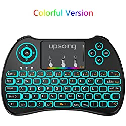 2.4GHz Colorful Backlit Mini Wireless Keyboard with Touchpad Mouse Combo for PC,Smart TV,Google Android TV Box,HTPC,IPTV,Raspberry pi 3,Pad and More USB Port Device