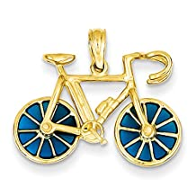 14k Yellow Gold 3-D Blue Translucent Acrylic Bicycle Pendant K4143
