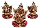 Set of Three Ganesha See Hear Speak No Evil Decorative Shelf Sitter Figurines