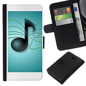 KLONGSHOP // Tirón de la caja Cartera de cuero con ranuras para tarjetas - Notas musicales - Sony Xperia M2 //