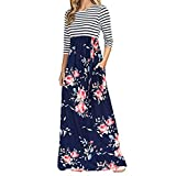 YunZyun Women's Long Sleeve Print High Waist Bohemian Long Dress with Pockets