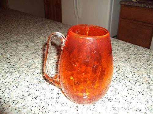Glass Crackle Vintage (Vintage Large Orange Crackle Glass Handled Mug Glass Applied Handle)