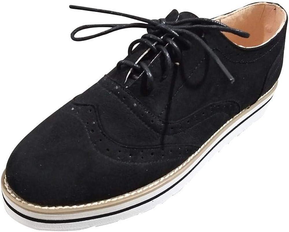 Yesmile Zapatos de mujer❤️Zapatos Punta Redonda de Color Sólido Tobillo de Las Mujeres de Gamuza Plana Zapatos de Cordones Casuales Zapatos Deportivos