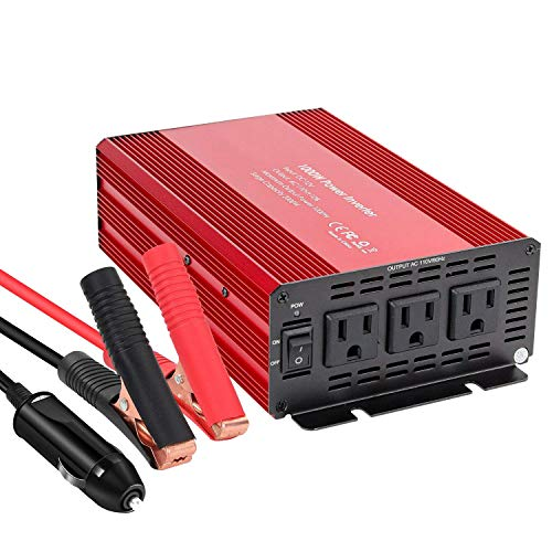 1000W Power Inverter Home Car RV Solar Power Converter DC 12V to 110V 3 AC Outlets Converter for Household Appliances in case Emergency, Storm, Outage and -