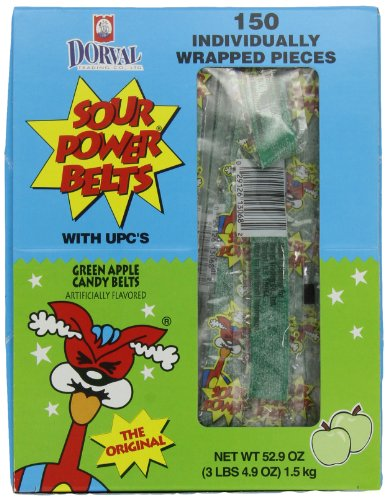 Sour Power Green  Apple, Individually Wrapped Belts, 52.9 Ounce (Pack of 150) (Power Sour Straws)