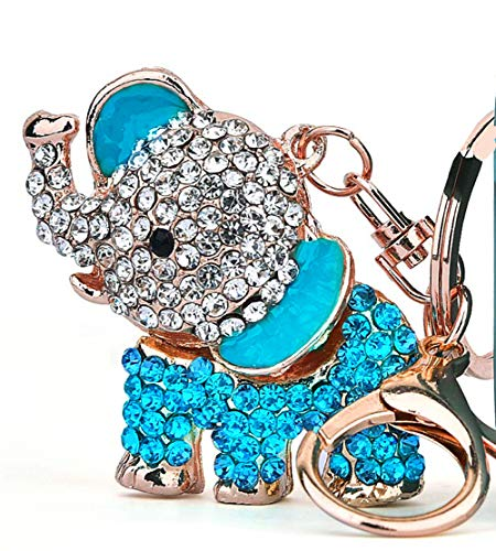Cute Big Ears Elephant Keychain Sparkling Keyring Crystal Purse Pendant Rhinestones Handbag Charm (Blue)