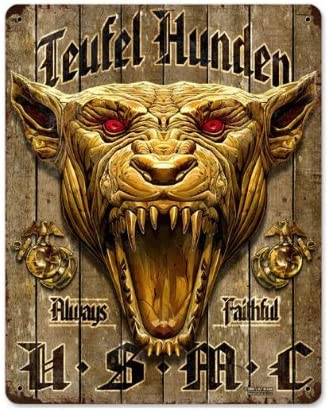 amazon com usmc devil vintage metal sign military marine corps devil dog 11x14steel not tin home kitchen usmc devil vintage metal sign