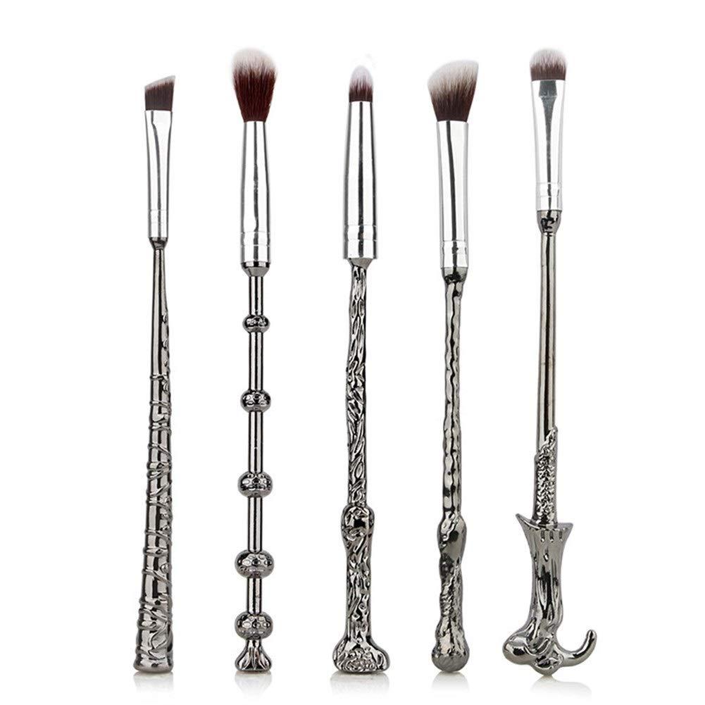 Beauty Makeup Brush Sets 5 Metal Magic Wand Makeup Brush Set Beauty Makeup Makeup Brush Set Portable Beauty Brush Makeup Brush Makeup Brush Sets (Size : Silver)