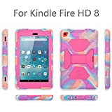 KIDSPR Case for A mazon F i r e H D 8 Tablet (6th Generation, 2016 Release Only), Shockproof Handle Light Weight Protective Stand Cover Case for K ind le F ir e H D 8 2016 Tablet (Pink camo)