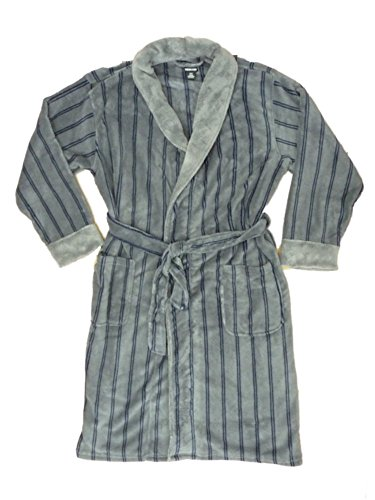 Striped Mens Robe (Joe Boxer Mens Plush Gray Striped Robe Housecoat Bath)