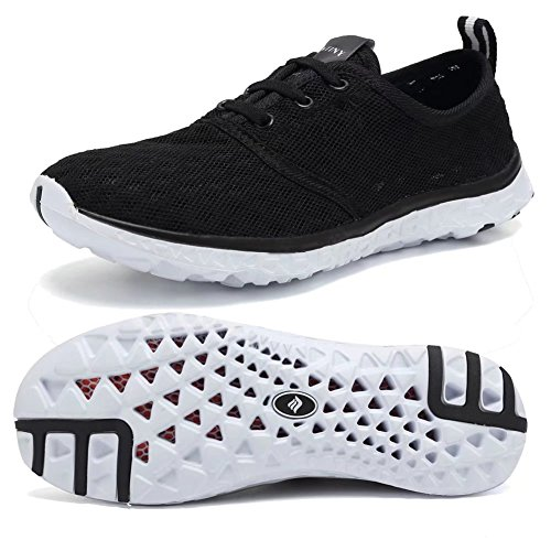 - Fantiny Women's Quick Drying Aqua Water Shoes Mesh Slip-On Athletic Sport Casual Sneakers for MenXLSX01-Black-41