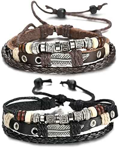 FIBO STEEL Leather Charm Bracelet for Men Braided Wrist Cuff, Adjustable 7.6-11 inches