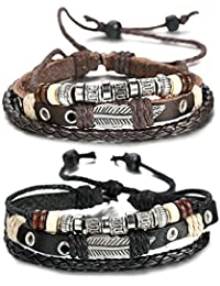 FIBO STEEL Leather Charm Bracelet for Men Braided Wrist...