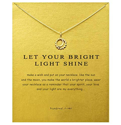 Hundred River Sun Necklace with Message Card Gift Card(Moon and Sun) ()