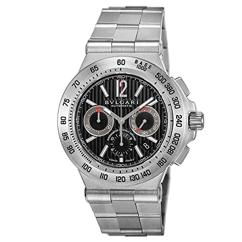 (BVLGARI watch Diagono Professional black dial stainless steel belt automatic winding 100M waterproof chronograph DP42BSSDCH Men)