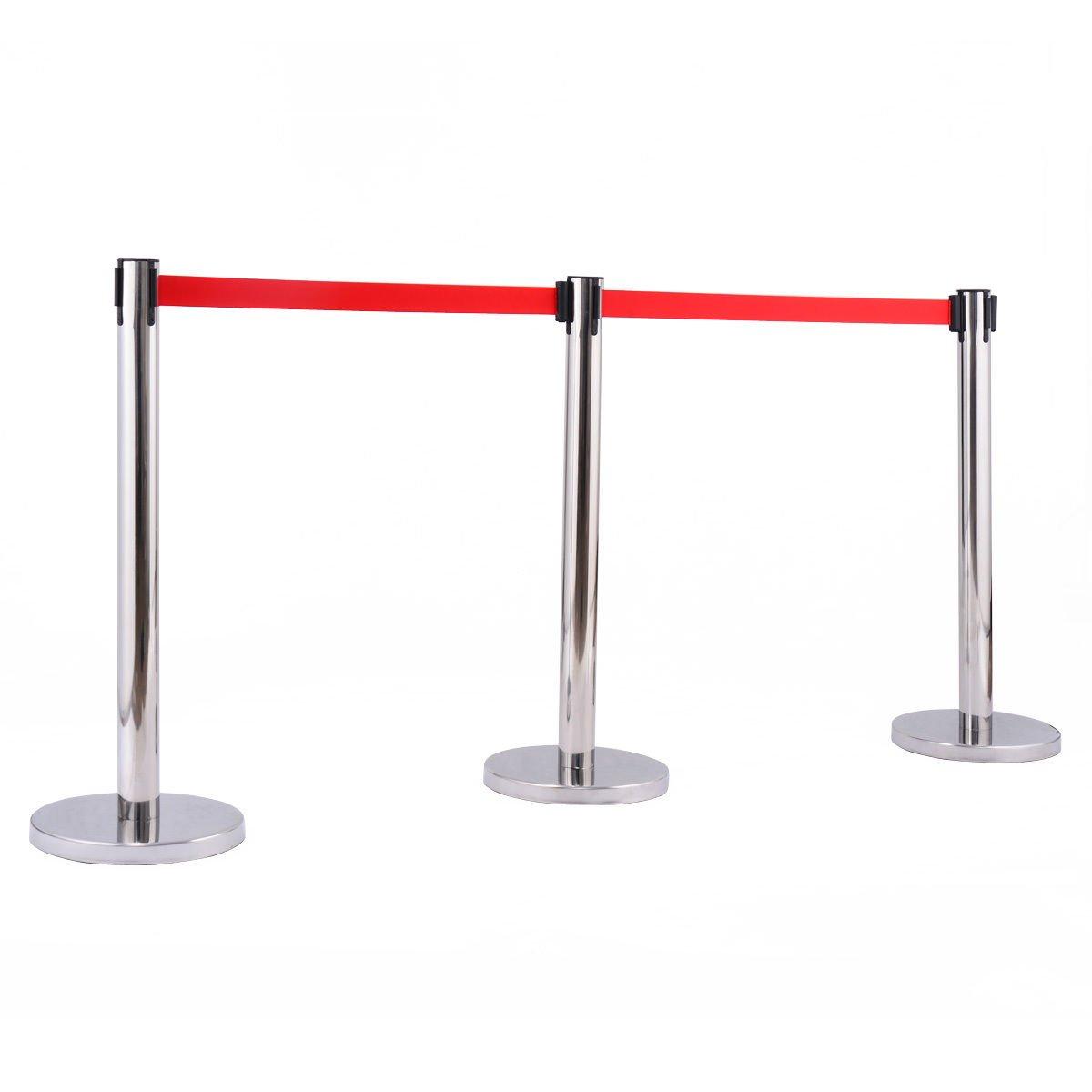 6 Pcs. Belt Retractable Crowd Control Stanchion Barrier Posts Queue Pole, Red by Alek...Shop (Image #4)
