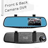 Ezonetronics Car Camera | Car Video Recorder Full HD 1080P | Car Video Camera 4.3 Inch LCD with Dual Lens for Vehicles Front & Rearview Mirror | DVR Vehicles Dash Cam 2010