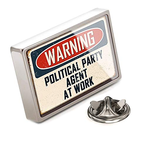 NEONBLOND Lapel Pin Warning Political Party Agent at Work Vintage Fun Job Sign