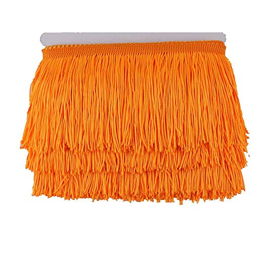 Heartwish268 Fringe Trim Lace Polyerter Fibre Tassel 4inch Wide 10 Yards Long for Clothes Accessories Latin Wedding Dress DIY Lamp Shade Decoration Black (Orange Red)
