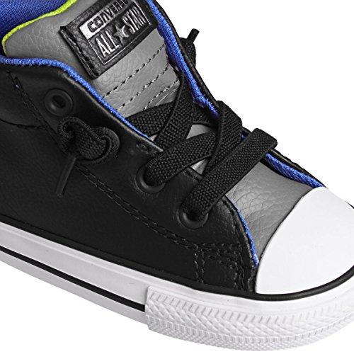 CONVERSE - Zapato negro de cordones, de cuero, con logo lateral y en la lengueta, punta de caucho blanca, insertos grises, costuras decorativas, Niño, Niños gris
