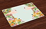 Ambesonne Floral Place Mats Set of 4, Flamingo Birds and Tropical Flowers Exotic Hawaiian Wildlife Animals Print, Washable Fabric Placemats for Dining Room Kitchen Table Decor, Baby Blue and Orange