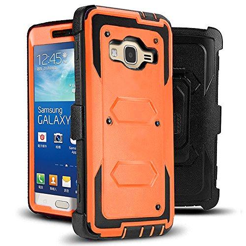 J.west Galaxy Grand Prime/Go Prime Case Rugged Holster Dual Layer Case [Kickstand][Belt Swivel Clip] for Samsung Galaxy Grand Prime (G530 G530H G530F G530M G530T G530AZ S920C), Orange (Best Phone Case For Galaxy Grand Prime)