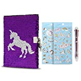 Sequin Notebook ,Unicorn Notebook with Gift Set, DIY Personal Diary with Lock