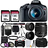 "Canon EOS Rebel T7 Digital SLR Camera + EF-S 18-55mm f 3.5-5.6 IS II Lens + 58mm 2X Professional Telephoto & 58mm Wide Angle Lens + 64GB Memory Card + DC59 Case + 60"" Tripod + Slave Flash + UV Filters"