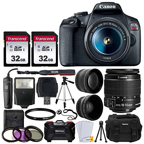 Canon EOS Rebel T7 Digital SLR Camera Bundle + EF-S 18-55mm f 3.5-5.6 is II Lens + 58mm 2X Professional Telephoto & 58mm Wide Angle Lens + 64GB Memory Card + DC59 Case + 60″ Tripod + Slave Flash