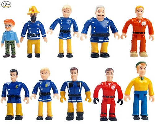 FUNERICA Set of 10 Fireman and Family People Toy Figures | Fireman /Firehouse Toy for Kids | Fireman Party Supplies Figurines by FUNERICA