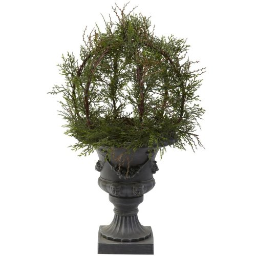 Wholesale 30 Inch Pond Cypress Topiary w/Urn Indoor/OutDoor) , [Decor, Silk Flowers] (Topiary Flower Silk)
