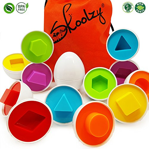 Skoolzy Egg Basic Shapes & Colors Preschool Toys with Tote Montessori Matching Motor Skills Game Easter Egg Geometric Shapes