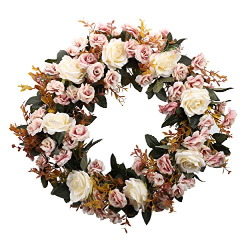 - Duovlo Rose Floral Twig Wreath 19 Inch Handmade Artificial Flowers Garland Front Door Wreath (Champagne)