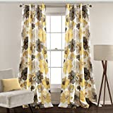 Lush Decor 16T000101 Leah Room Darkening Window Curtain Panel Pair, 95 inch X 52 inch, Yellow/Gray, Set of 2