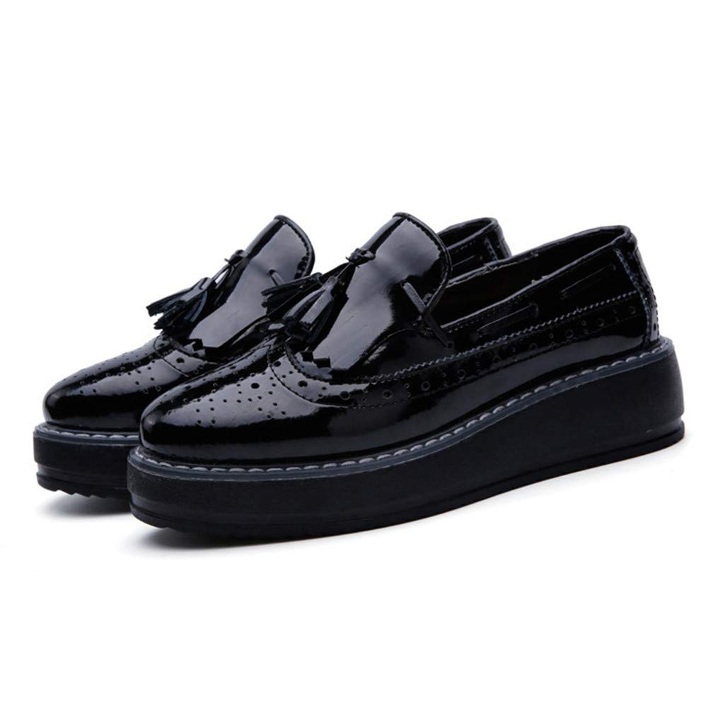 Women Brogue Shoes Ladies Tassel Oxford Slip On Office Pattent Loafers Pumps