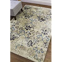 Ivory Rug Contemporary, 8-Foot 2-Inch X 10-Foot Soft Distressed Vintage Antique Trellis