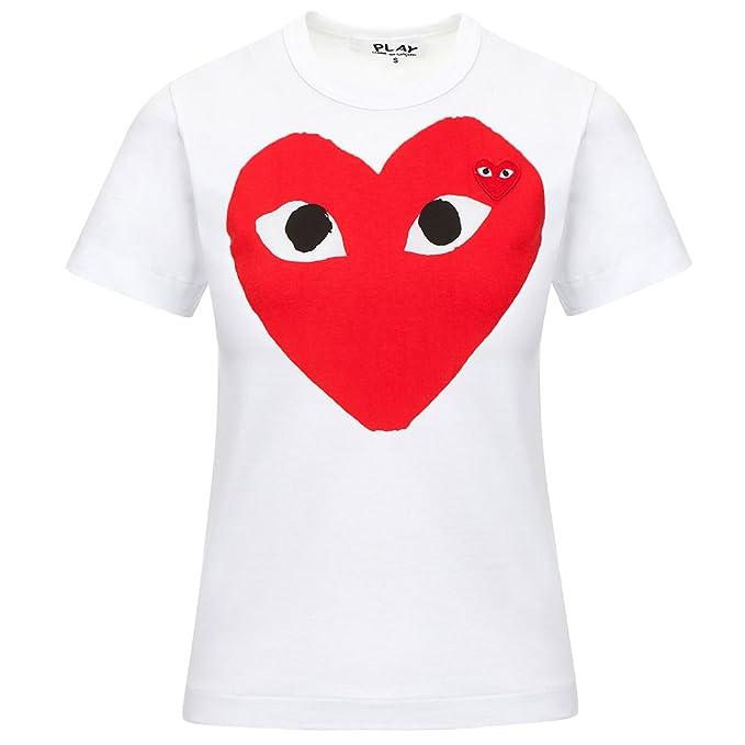 Comme des Garcons Play Women s Red Heart Large Print T-Shirt P1T025 White (M e1c3b840ec
